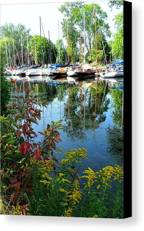 Flowers Canvas Print featuring the photograph Reflections In The Pool by Ian MacDonald