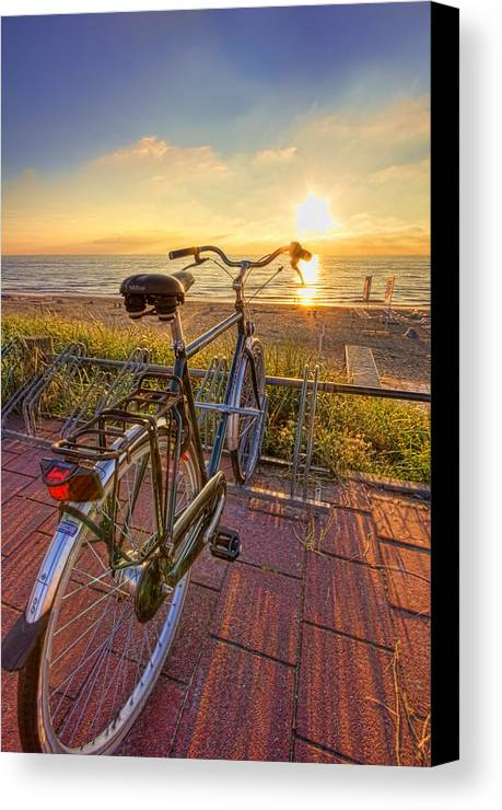 Bike Canvas Print featuring the photograph Ride Off Into The Sunset by Nadia Sanowar