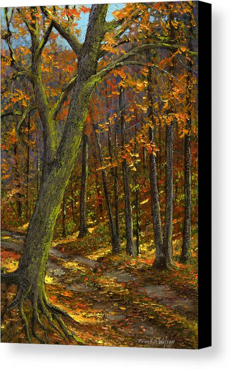 Landscape Canvas Print featuring the painting Road In The Woods by Frank Wilson