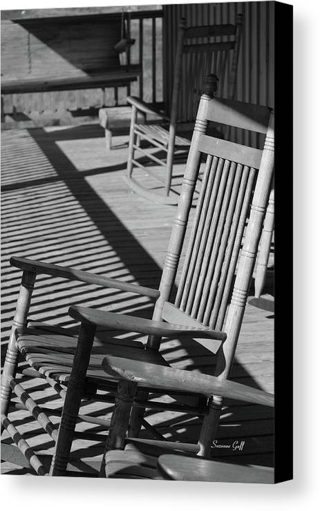 Rocking Canvas Print Featuring The Photograph Rocking Chair Porch In Black  And White By Suzanne Gaff