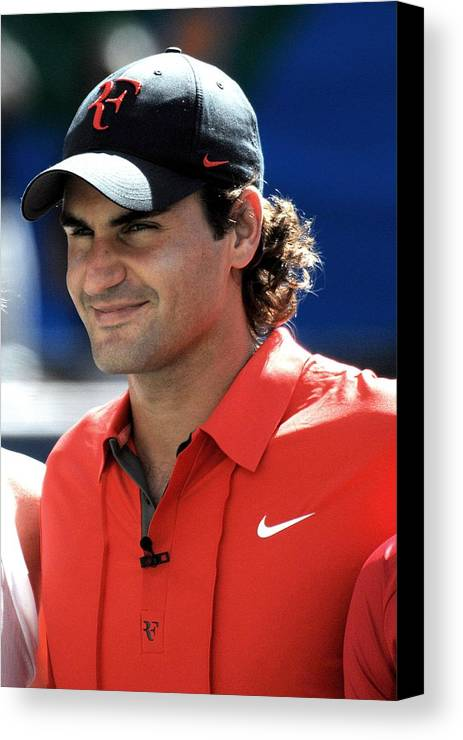 Arthur Ashe Kids Day At The Us Open Tennis Tournament Canvas Print featuring the photograph Roger Federer In Attendance For Arthur by Everett