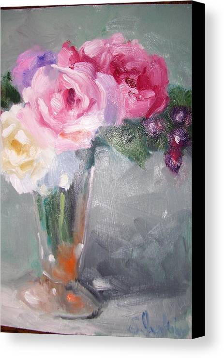 Stillife Canvas Print featuring the painting Roses And Berries by Susan Jenkins