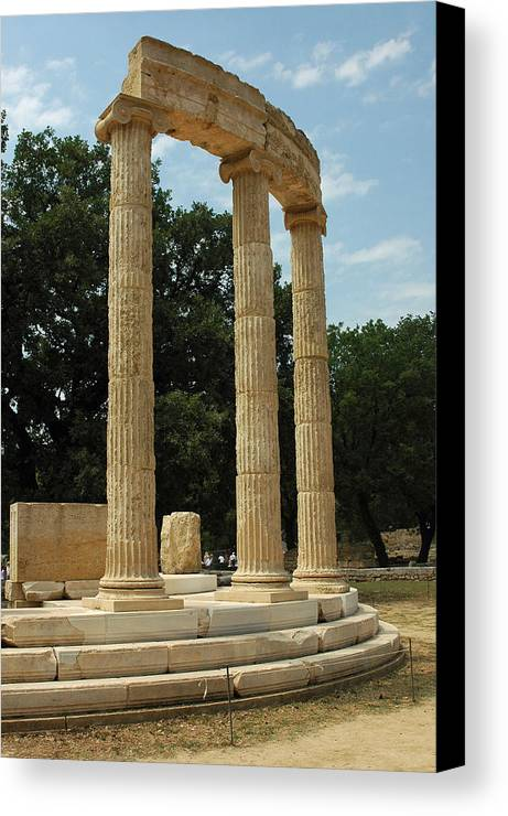 Temple Canvas Print featuring the photograph Round Temple At Olympia by Deni Dismachek