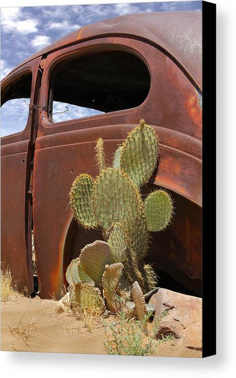 Southwest Canvas Print featuring the photograph Route 66 Cactus by Mike McGlothlen