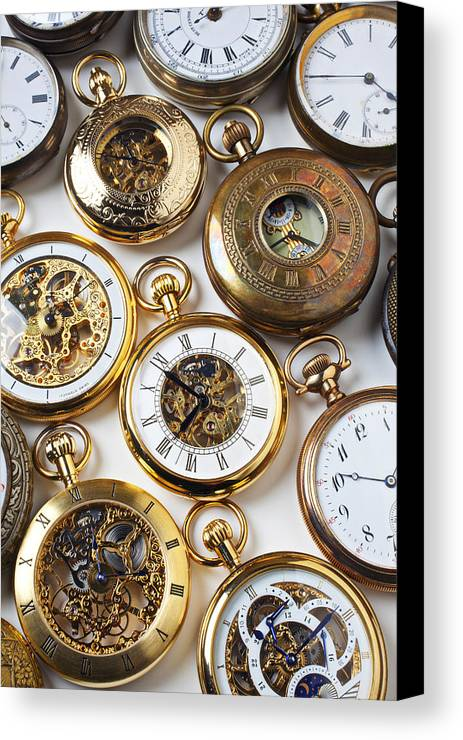 Time Canvas Print featuring the photograph Rows Of Pocket Watches by Garry Gay