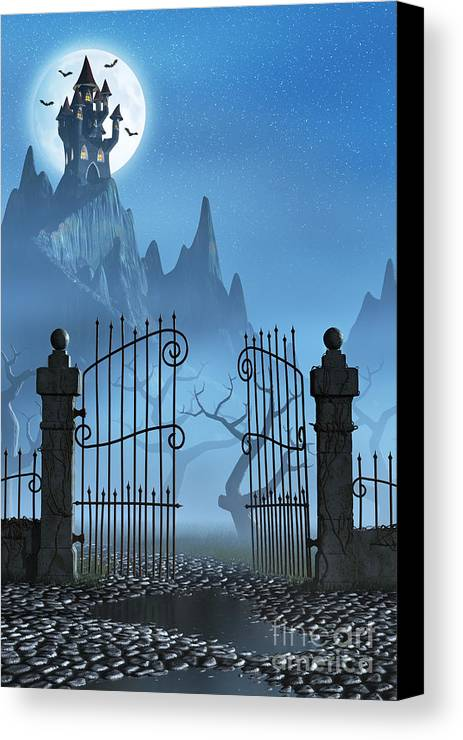 Castle Canvas Print featuring the digital art Rusty Gate And A Spooky Dark Castle by Sara Winter