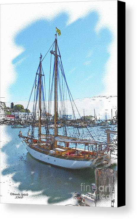Sailboat Canvas Print featuring the photograph Sailboat Docked In Camden by Brenda Spittle