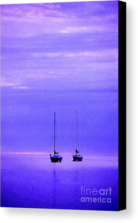 Sailboats Canvas Print featuring the photograph Sailboats In Blue by Timothy Johnson