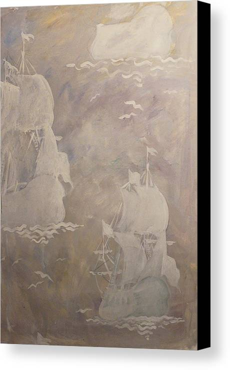 Ship Canvas Print featuring the drawing Sailing Away by Kseniya Nelasova