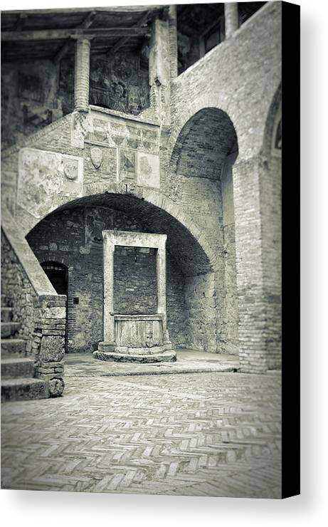 Ancient Canvas Print featuring the photograph San Gimignano - Medieval Well by Silvia Ganora