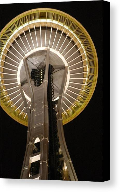 Seattle Canvas Print featuring the photograph Seattle Space Needle At Night by Davida Parker