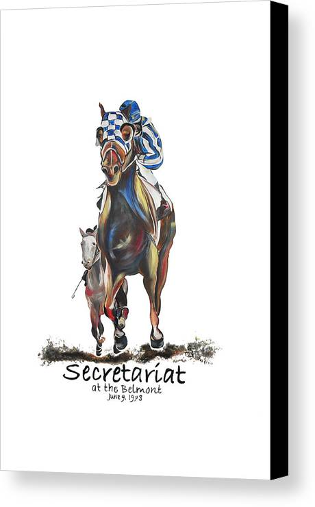 Secretariat Canvas Print featuring the painting Secretariat At The Belmont Mural by Amanda Sanford