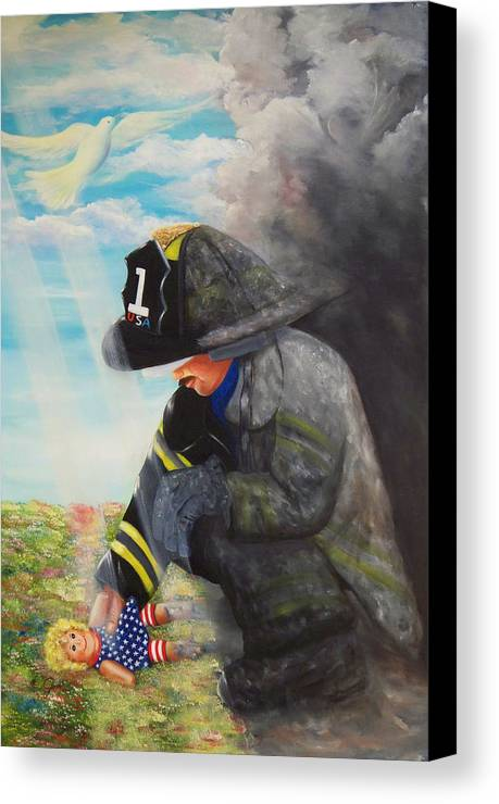 Portrait Canvas Print featuring the painting September 11th by Joni McPherson