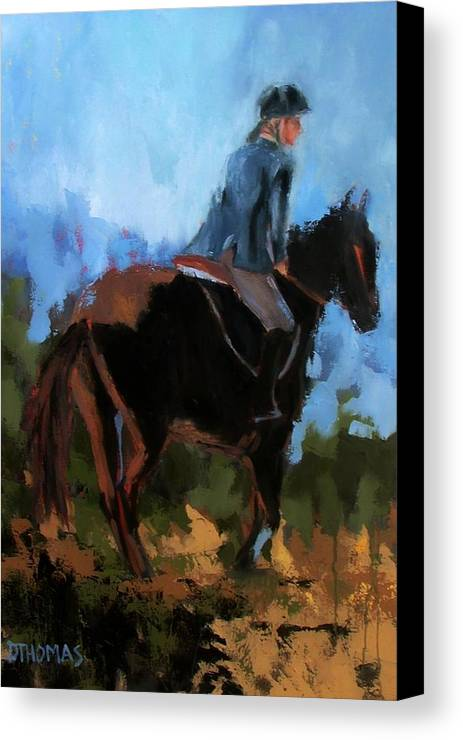 Horse Canvas Print featuring the painting Setting Up The Jump by Donna Thomas
