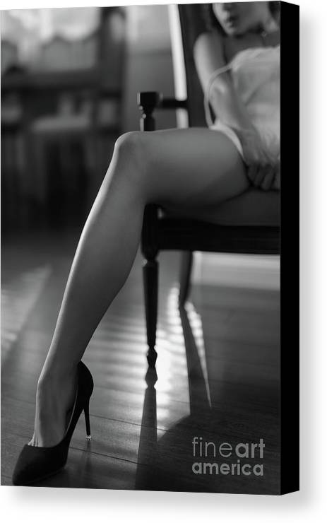 Sexy canvas print featuring the photograph sexy long legs in high heels sensual black and white