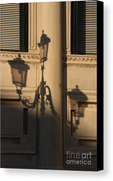 Venice Canvas Print featuring the photograph Shadow Of A Lamp Post In Venice by Michael Henderson