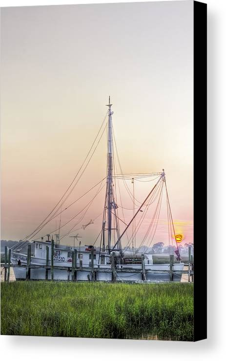 Marsh Canvas Print featuring the photograph Shrimp Boat Sunset by Drew Castelhano
