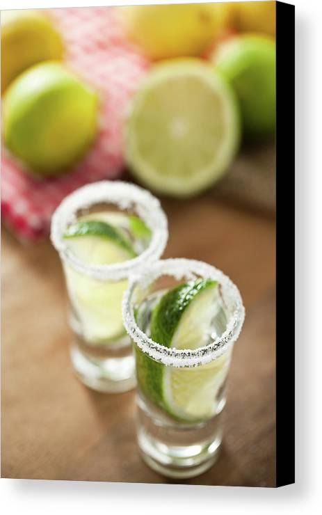 Vertical Canvas Print featuring the photograph Silver Tequila, Limes And Salt by by Marion C. Haßold, www.marionhassold.com