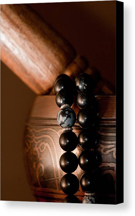 Buddhist Canvas Print featuring the photograph Singing Bowl And Mala In Color by Edward Myers