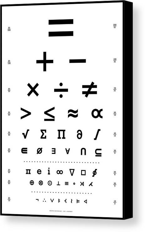 Snellen Chart Mathematical Symbols Canvas Print Canvas Art By