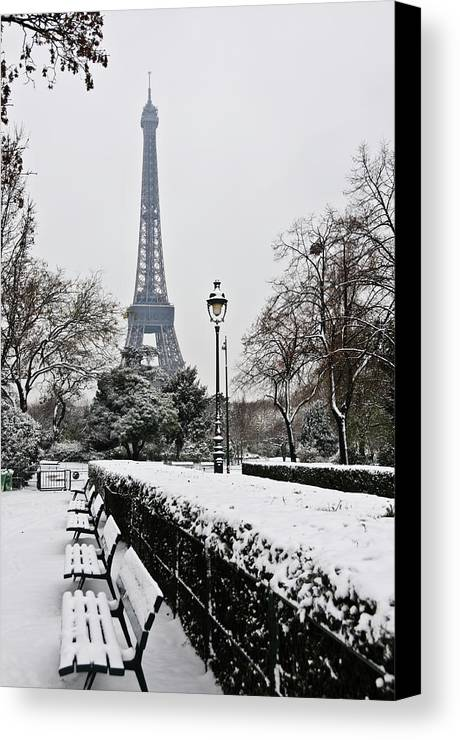 Vertical Canvas Print featuring the photograph Snow Carpets Benches And Eiffel Tower by Jade and Bertrand Maitre