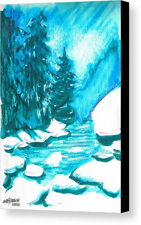 Chilling Canvas Print featuring the mixed media Snowy Creek Banks by Seth Weaver