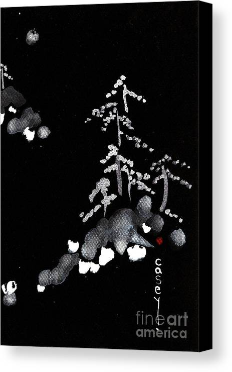 Sumi Canvas Print featuring the painting Snowy Mountain Retreat by Casey Shannon