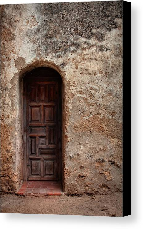 Arch Canvas Print featuring the photograph Spanish Mission Doorway by David and Carol Kelly