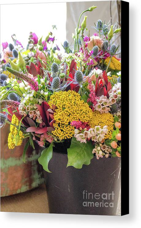 Flowers Canvas Print featuring the photograph Spring In A Bucket by Cheryl Williver