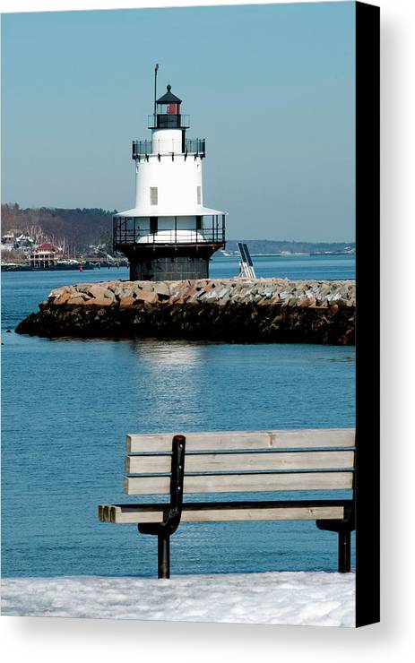 Coast Canvas Print featuring the photograph Spring Point Ledge Lighthouse by Greg Fortier