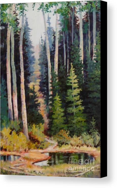 Spring Canvas Print featuring the painting Spring Wood Path by JoAnne Corpany