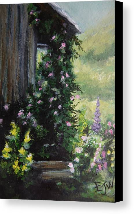 Flower Painting Canvas Print featuring the painting Springtime At The Cabin by Elizabeth Waitinas