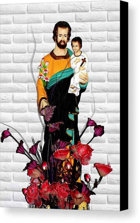Saint Canvas Print featuring the photograph St Joseph Holding Baby Jesus - Catholic Church Qibao China by Christine Till