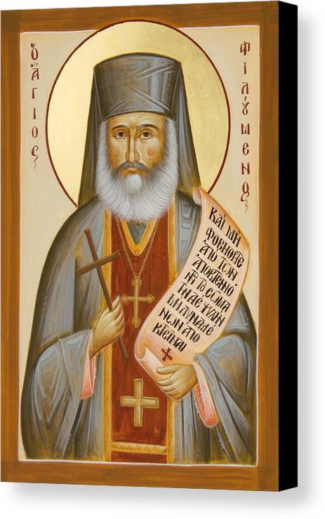 St Philoumenos Canvas Print featuring the painting St Philoumenos Of Jacob's Well by Julia Bridget Hayes