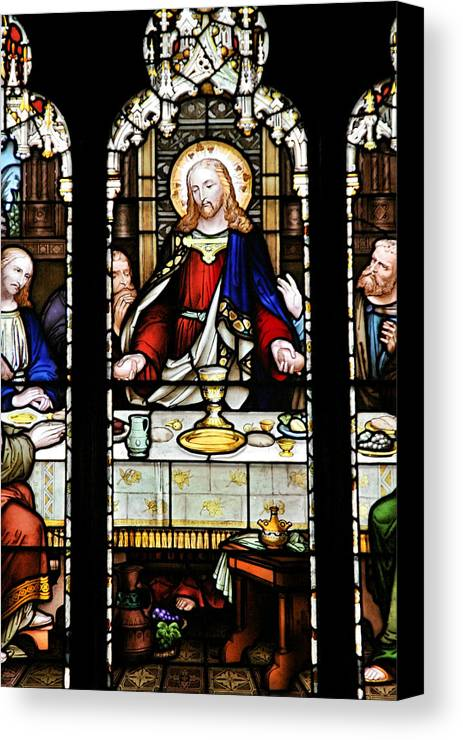Stained Canvas Print featuring the photograph Stained Glass Window Last Supper Saint Giles Cathedral Edinburgh Scotland by Christine Till