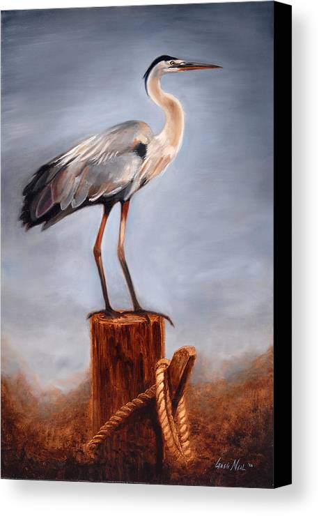Heron Canvas Print featuring the painting Standing Watch by Greg Neal