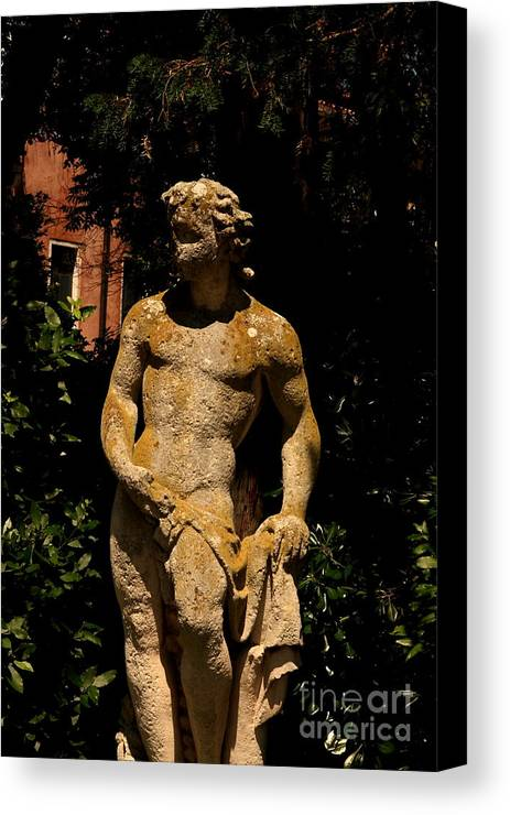 Venice Canvas Print featuring the photograph Statue In The Garden In Venice by Michael Henderson