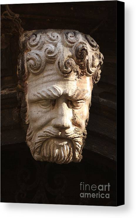 Venice Canvas Print featuring the photograph Stone Head In Venice by Michael Henderson