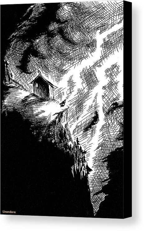 Night Canvas Print featuring the drawing Stormy Night by Alexandra Cook