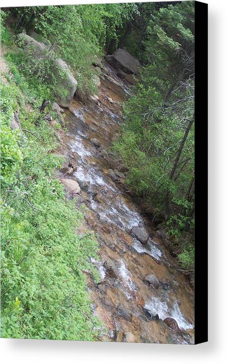 Landscape Canvas Print featuring the photograph Streming Down The Rocky Way by Sarah Bauer