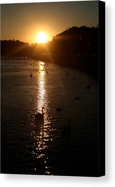 Sunset Canvas Print featuring the photograph Sun Setting In Sheepshead Bay by Jason Hochman