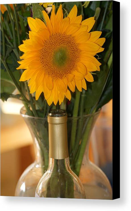 Sunflower Canvas Print featuring the photograph Sunflower In A Bottle Or Is It Vase. by Liz Vernand