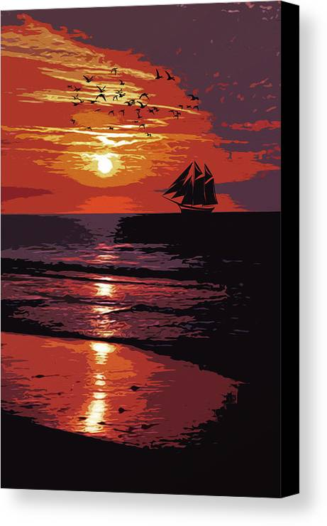 Sea Canvas Print featuring the painting Sunset - Wonder Of Nature by Andrea Mazzocchetti