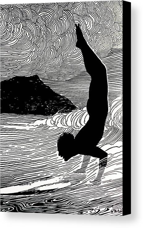 1930 Canvas Print featuring the painting Surfer And Waikiki by Hawaiian Legacy Archive - Printscapes