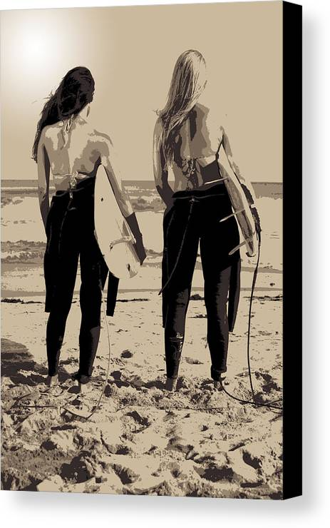 Surf Canvas Print featuring the photograph Surfer Girls by Brad Scott