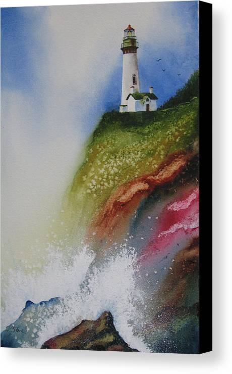 Lighthouse Canvas Print featuring the painting Surfside by Karen Stark