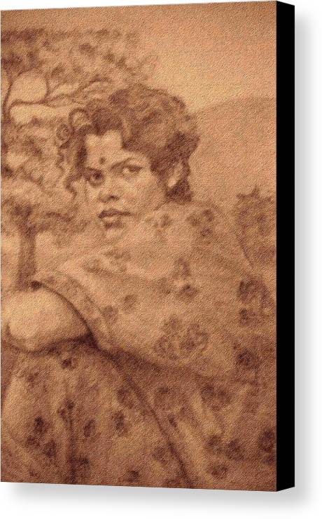 Portrait Canvas Print featuring the drawing Sushila by Claudio Fiori
