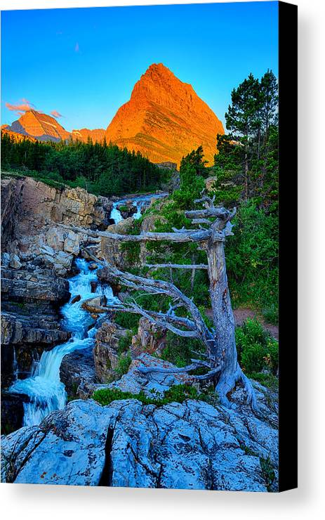 Glacier National Park Canvas Print featuring the photograph Swiftcurrent Falls by Greg Norrell