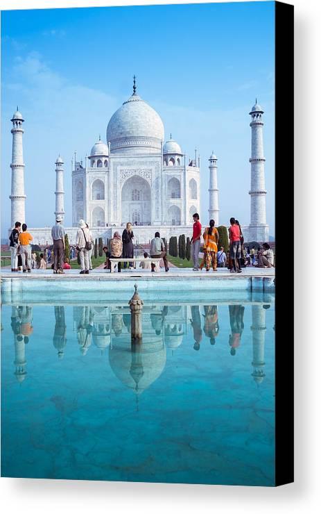 Ancient Canvas Print featuring the photograph Taj Mahal by Nila Newsom