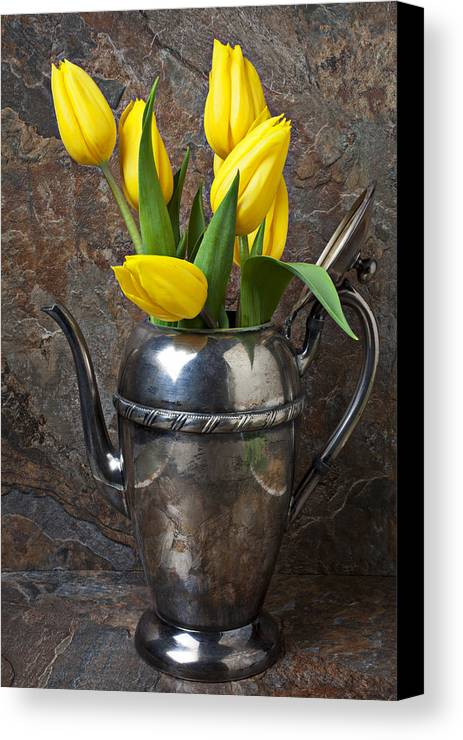 Tea Pot Canvas Print featuring the photograph Tea Pot And Tulips by Garry Gay